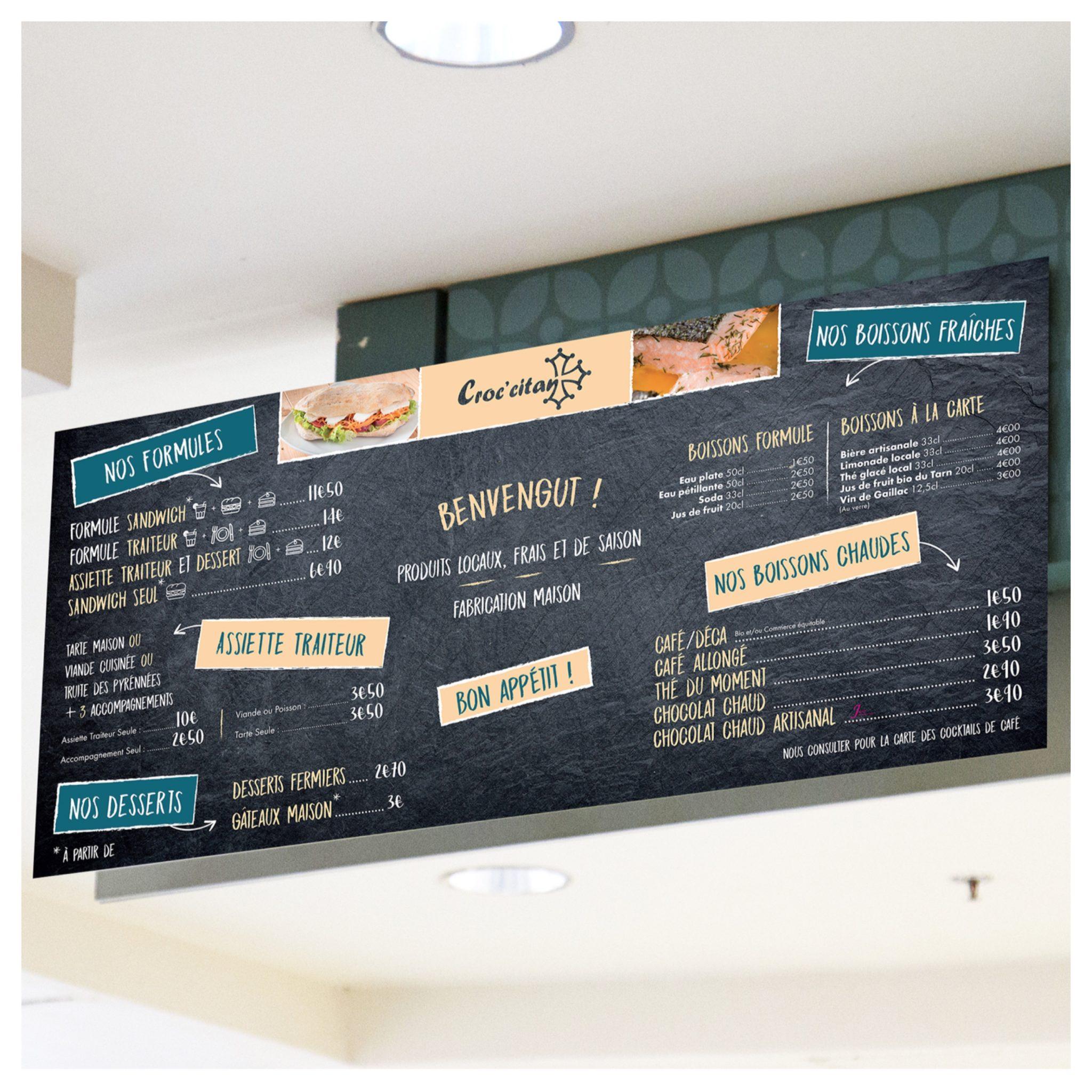 Nouveau panneau menu pour le restaurant rapide Croccitan